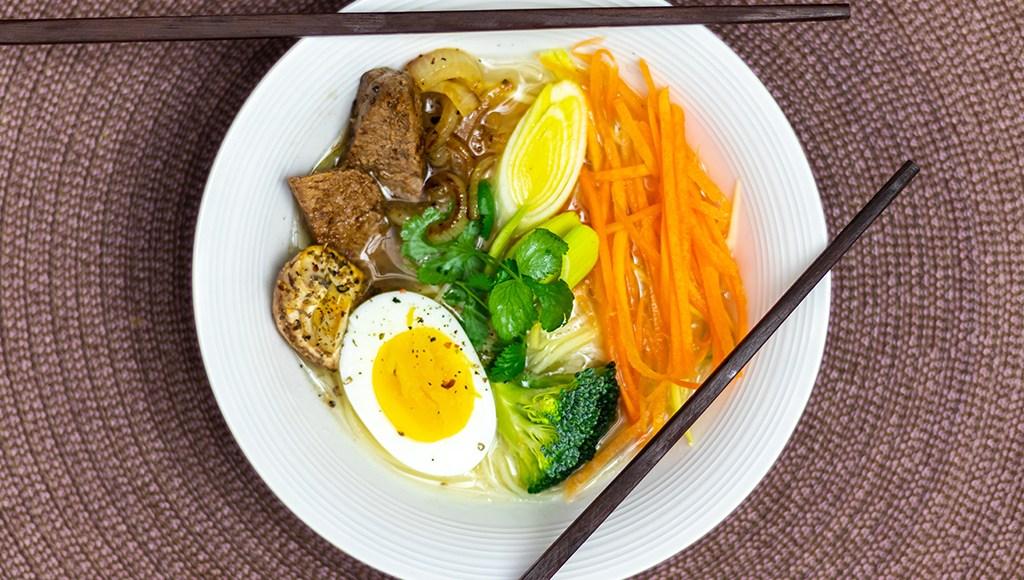 Ramen soup bowl at home