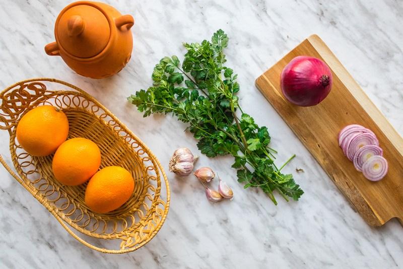 Ingredients for pork fillets a lorange