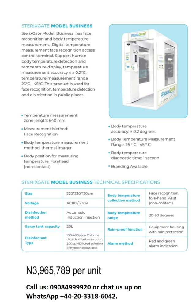 SterixGate: Contactless Full Body Disinfection & Auto-Sanitizing Gate for COVID-19