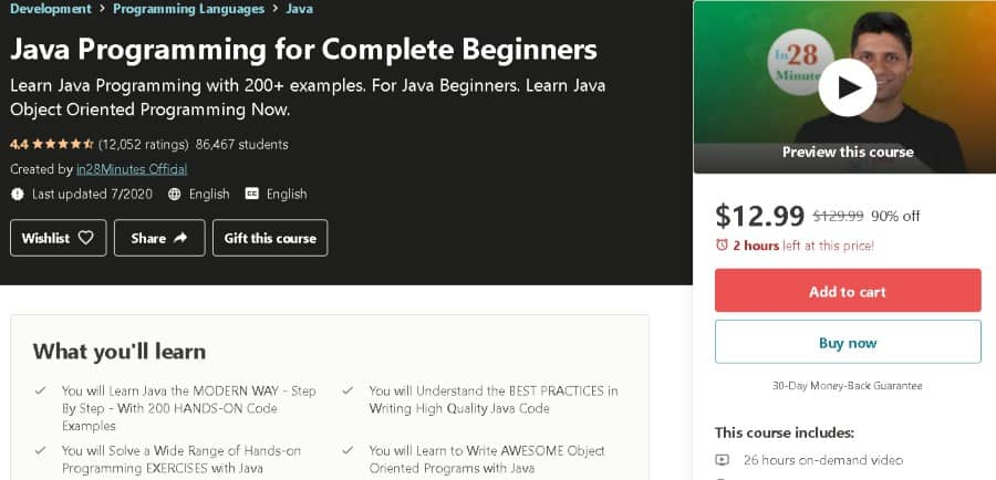 7. Java Programming for Complete Beginners (Udemy)