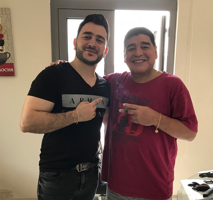 Diego Maradona served by SKILLS Dubai Barbershop