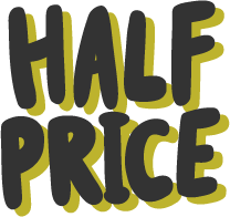 The words half price in Skills Journey brand colours.