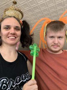 Eva and Michael dressed in costume for celebration in F.R.E.E room