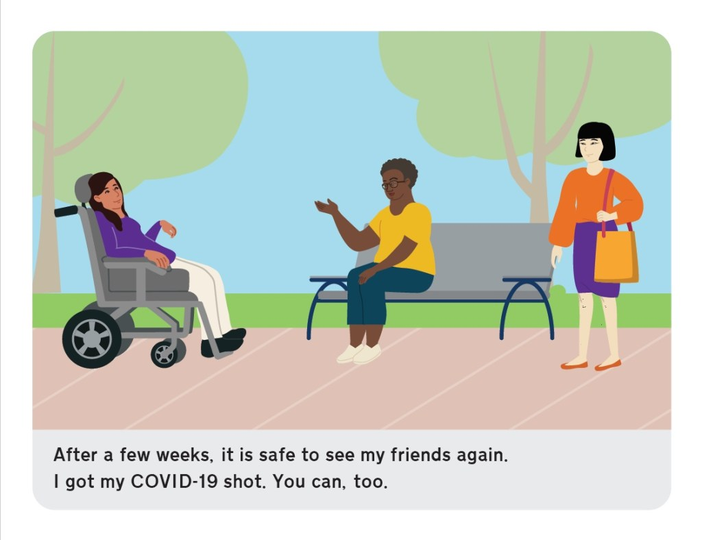 After a few weeks, it is safe to see my friends again. I got my COVID-19 shot. You can, too.