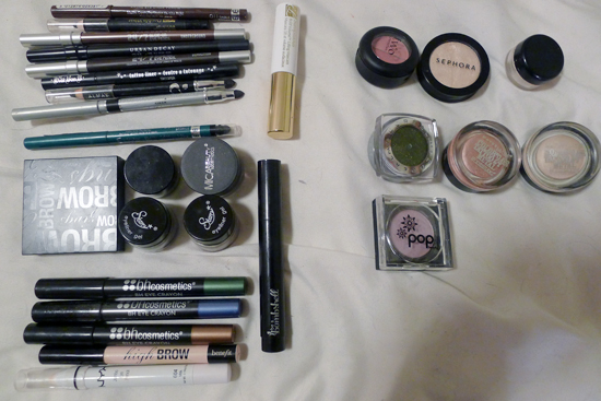 My eyeliners and shadow singles