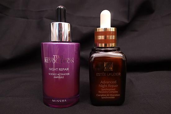 Missha Science Activator Ampoule vs. Estée Lauder Advanced Night Repair Serum
