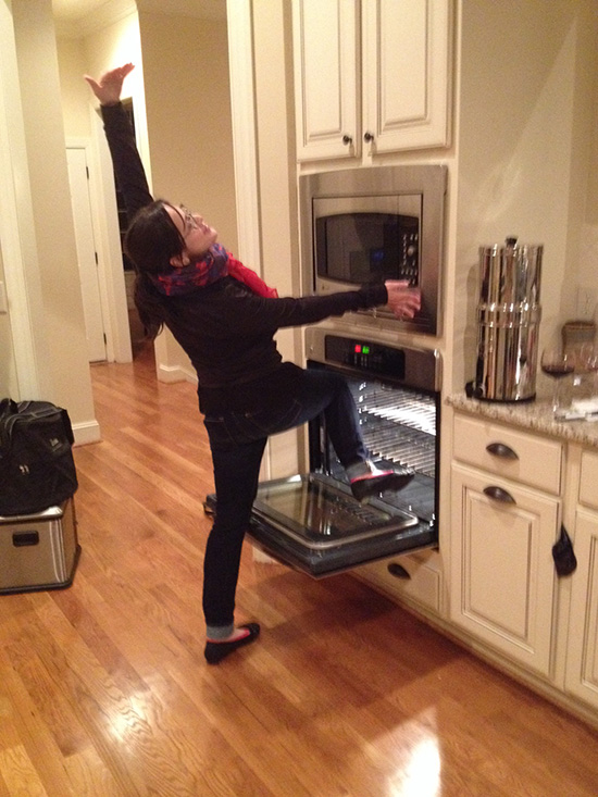 This is my sister, trying to get warm.  Photo credit: My brother, Rob
