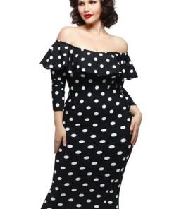 Black Polka Dot Ruffle Off shoulder Neckline Long Sleeves Dress LC61220 2 4 Black Polka Dot Ruffle Dress
