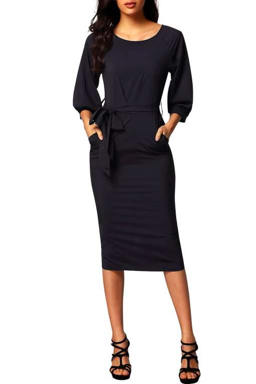 Black Puff Sleeve Belt Chiffon Pencil Dress LC61691 2 1 Copy Copy 1 Puff Sleeve Belt Chiffon Pencil Dress