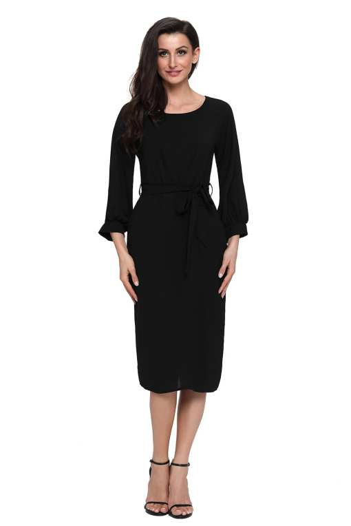 Black Puff Sleeve Belt Chiffon Pencil Dress LC61691 2 4 Copy Puff Sleeve Belt Chiffon Pencil Dress