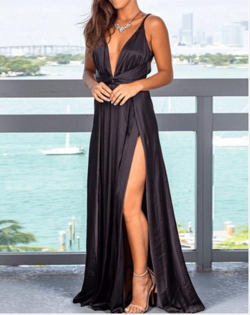 Glamorous Slender Strap Zip Back Slit Maxi Dress Luscious Curvy1 Sophisticated Glamorous Slender Strap Zip Back Slit Maxi Dress Luscious Curvy