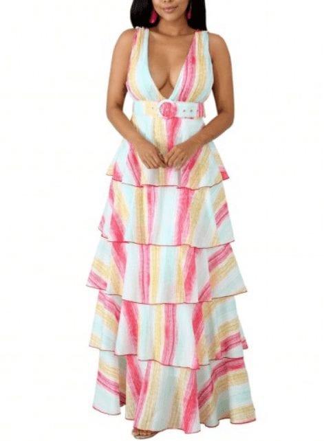 Captivating Layered Pink Waist Belt Open Back V Neck Maxi Dress Classic Fashion Pretty Captivating Layered Pink Waist Belt Open Back V Neck Maxi Dress Classic Fashion