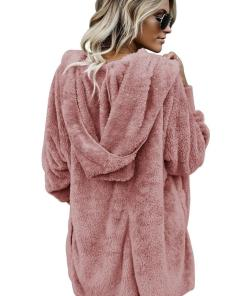 LC85111 10 2 Beautiful Soft Fleece Hooded Open Front Coat