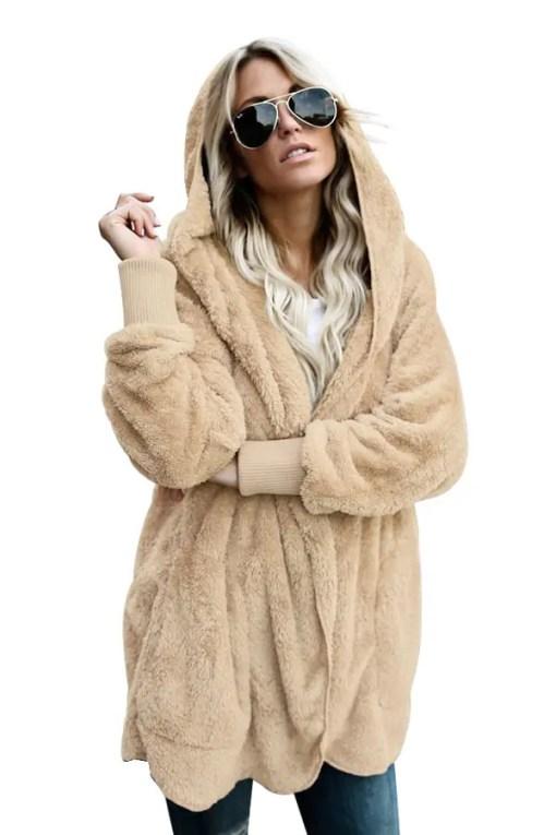 LC85111 16 0 Beautiful Soft Fleece Hooded Open Front Coat