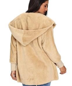 LC85111 16 2 Beautiful Soft Fleece Hooded Open Front Coat