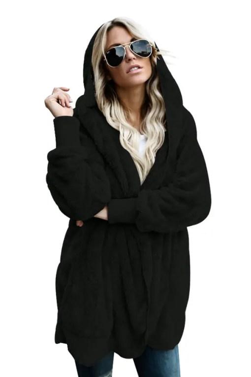 LC85111 2 0 Beautiful Soft Fleece Hooded Open Front Coat