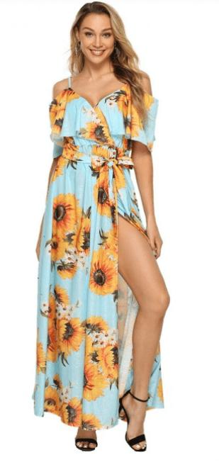 blue Classy Dazzling Cold Shoulder  Sunflower Slit Big Size Maxi Dress