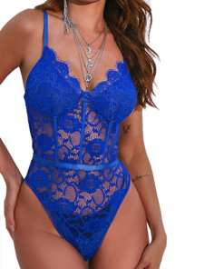 Beautiful Feminine Adjustable Straps Lace Mesh Teddy