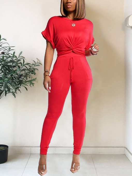 Comfortable Flexible Crew Neck Shirt High Rise Pants