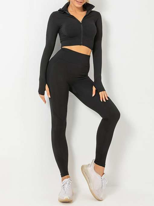 Stand-Up Collar Top High Rise Leggings Casual Wear