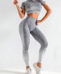 YD200058 GY1 Maldonado Scintillating Crop Top Seamless High Waist Pants Women's Activewear