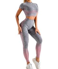 YD200058 PK1 Maldonado Scintillating Crop Top Seamless High Waist Pants Women's Activewear