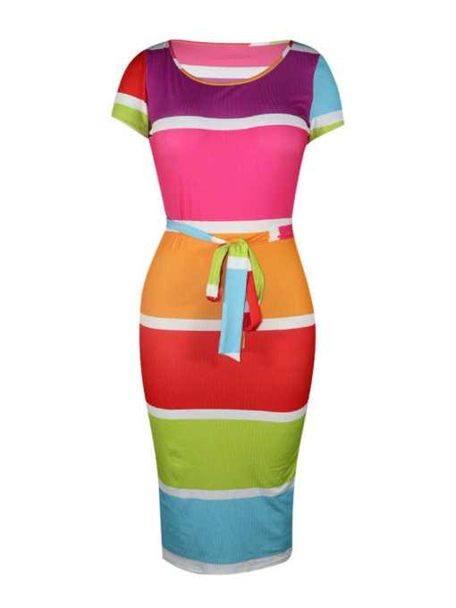 Colorful and Elegant Contrast Color Backless Bodycon Dress