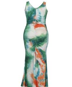 Comfortable Soft-Touch Sleeveless Plus Size Dress Tie-Dyed For Sexy Women