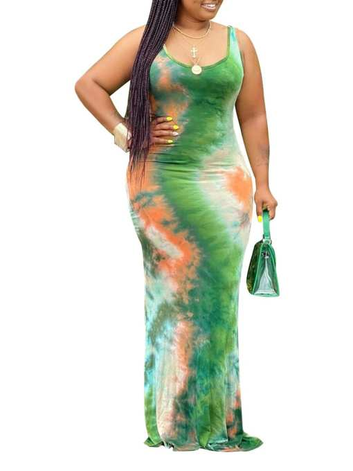 VZ200305 M01 Comfortable Soft-Touch Sleeveless Plus Size Dress Tie-Dyed For Sexy Women