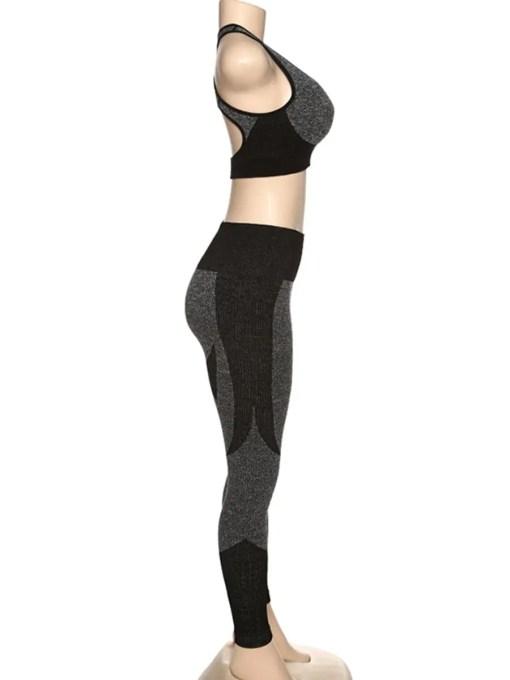 YD200306 BK1 4 Black High Waist Sweatsuit Splicing Cutout Outdoor Activity