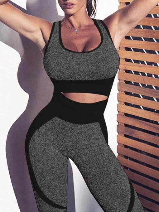 YD200306 BK1 Black High Waist Sweatsuit Splicing Cutout Outdoor Activity