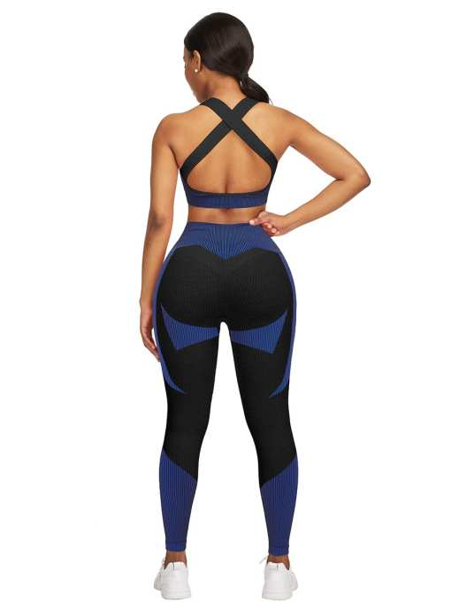 YD200306 BU2 2 Athletic and Fabulous Strap Crop Top High Waist Leggings