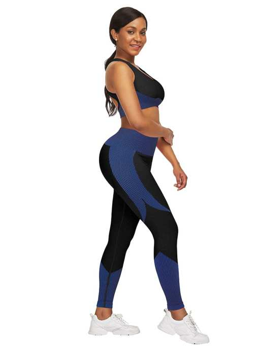 YD200306 BU2 3 Athletic and Fabulous Strap Crop Top High Waist Leggings