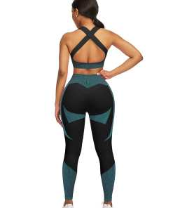 YD200306 BU8 2 Athletic and Fabulous Strap Crop Top High Waist Leggings