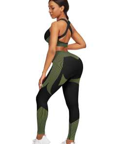 YD200306 GN1 2 Athletic and Fabulous Strap Crop Top High Waist Leggings