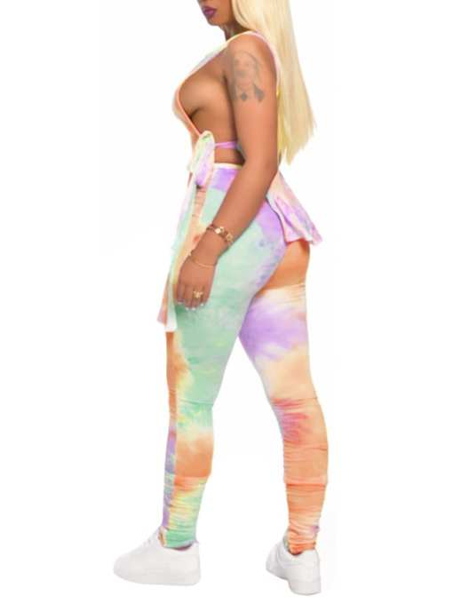 Sassy Appropriate Tank Top Tie-Dyed Ankle Length Pants Leisure