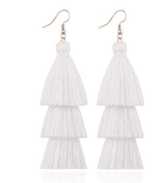 white White Tassel Earrings