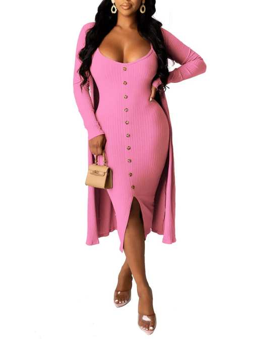 Solid Color Sling Cardigan Dress Outfit Women's