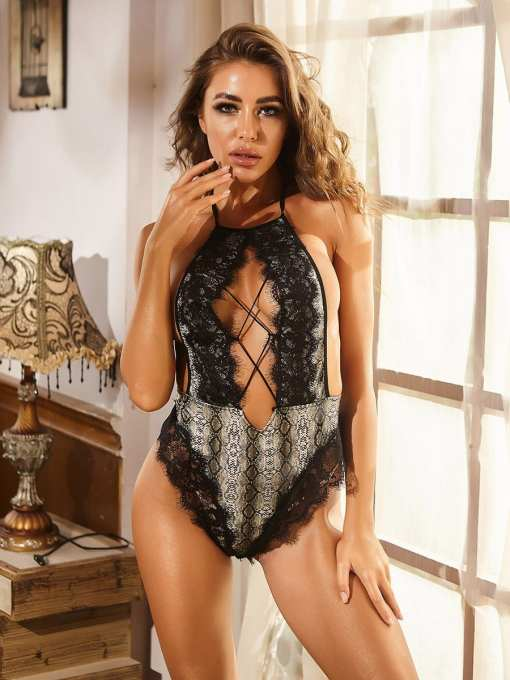 Sexy Free Cozy Black Halter Teddy Cut-Out Snakeskin Printed Hot Trend