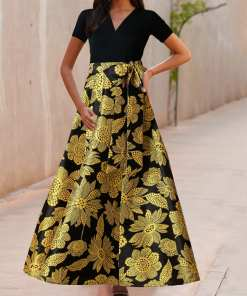 Elegant Body Hugging Black Swing Hem Flower Print Evening Dress