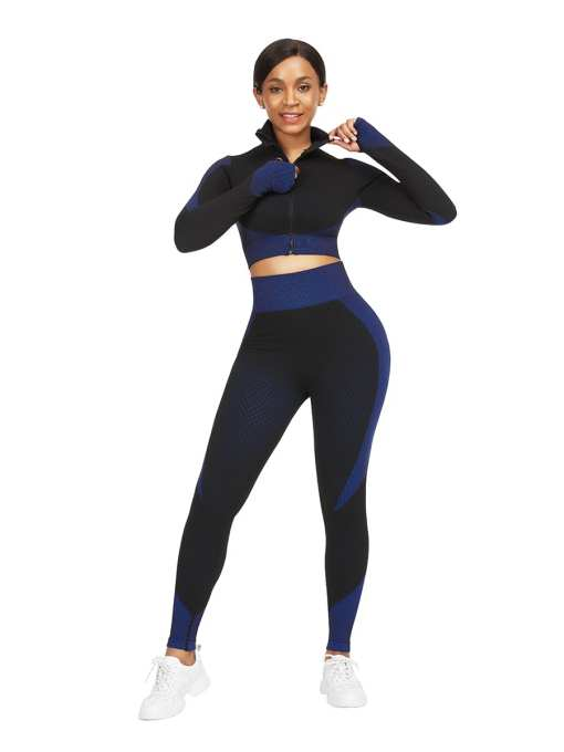 YD190185 BU2 Chic Incredibly Thumbhole Zipper Contrast Color Yoga Suit