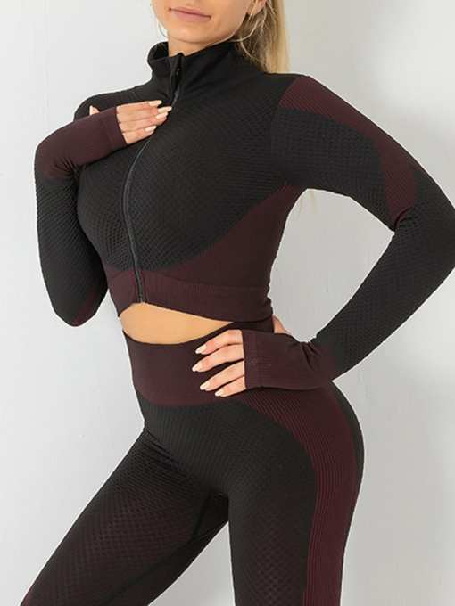 Chic Colorblock Zipper Yoga Suit Cropped
