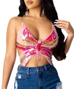 Hot Sling Sequin Bowknot Vest Backless Form Fit