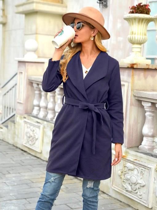 Purplish Blue Waist Belt Plus Size Coat Open Front Garment