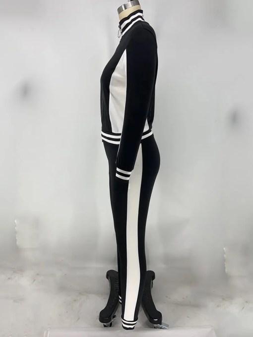 VZ200551 BK1 4 Hot Athletic Suit Zipper Color block Ankle Length