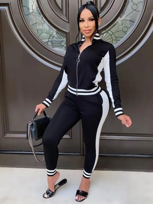 VZ200551 BK1 Hot Athletic Suit Zipper Color block Ankle Length