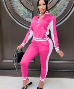 Comfortable Athletic Suit Zipper Color block Ankle Length