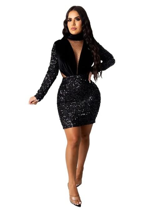 Mesh Splice Mini Bodycon Dress Casual Comfort