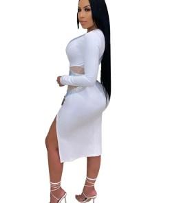 Mesh Rhinestone Bodycon Dress