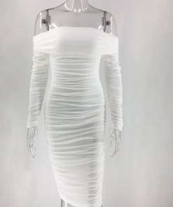 VZ200571 WH1 3 Classic White Full Sleeve Bare Shoulder Midi Dress Luscious Curvy